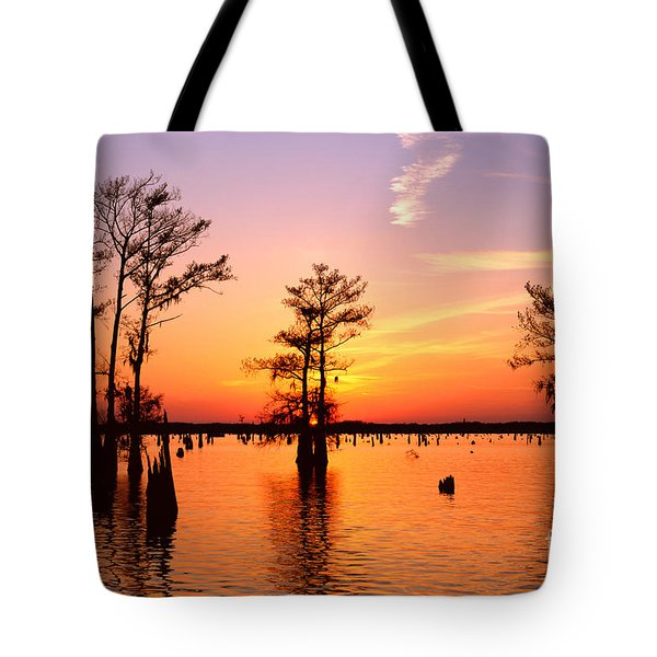 Sunset Lake In Louisiana Tote Bag
