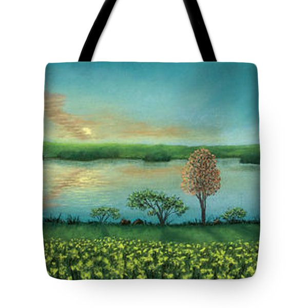 Sunset Lake Triptych Tote Bag