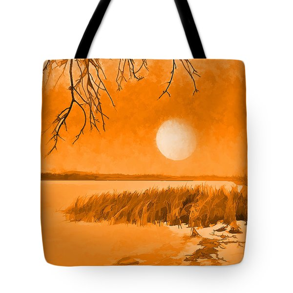 Tote Bag featuring the digital art Calm Lake Under Full Moon - Boulder County Colorado by Joel Bruce Wallach