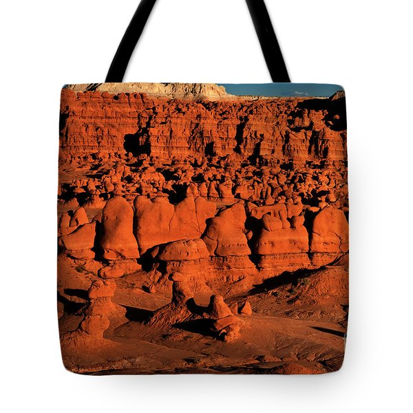 Sunset Light Turns The Hoodoos Blood Red In Goblin Valley State Park Utah Tote Bag