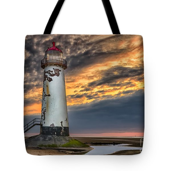 Sunset Lighthouse Tote Bag