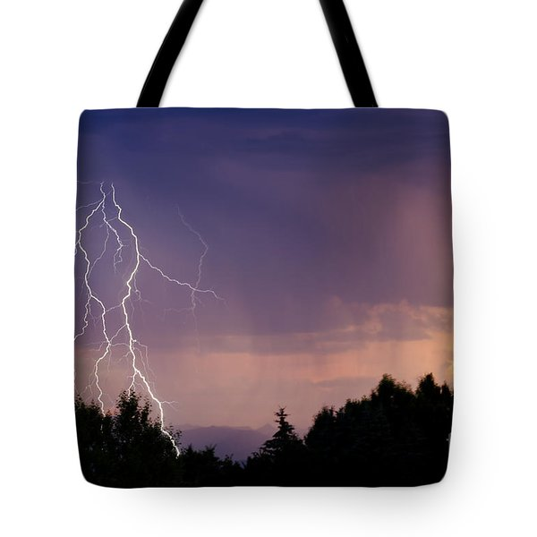 Sunset Lightning Tote Bag