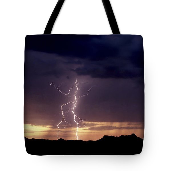 Tote Bag featuring the photograph Sunset Lightning-signed by J L Woody Wooden