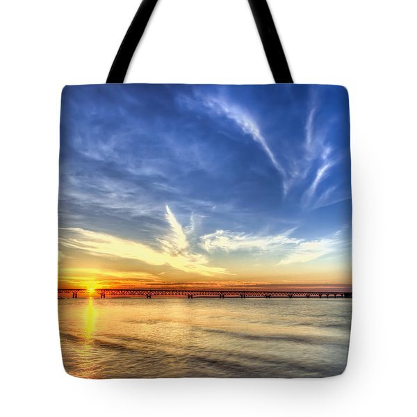 Sunset Mackinac Bridge Tote Bag