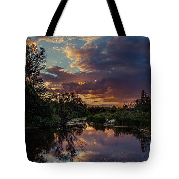 Tote Bag featuring the photograph Sunset Mirror by Dmytro Korol