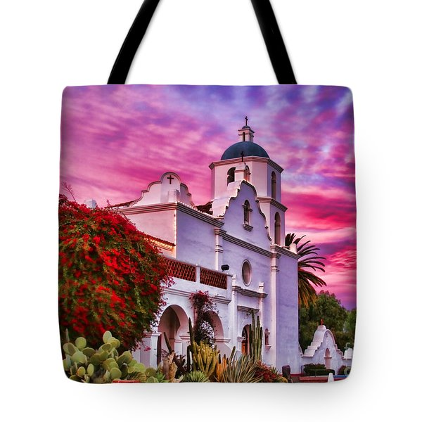 Sunset Mission San Luis Rey De Francia By Diana Sainz Tote Bag