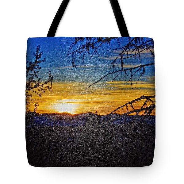 Tote Bag featuring the photograph Sunset Mountain To Mountain by Janie Johnson