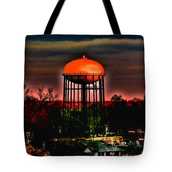 Sunset On A Charlotte Water Tower By Diana Sainz Tote Bag by Diana Sainz