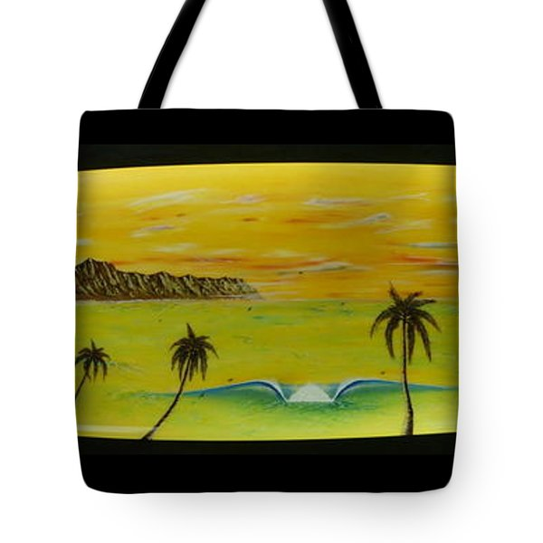 Sunset On A Surfboard Tote Bag
