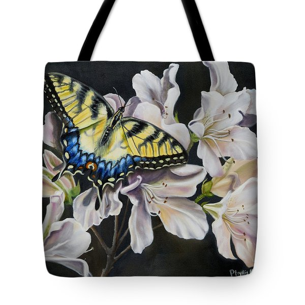 Tote Bag featuring the painting Sunset On A Swallowtail by Phyllis Beiser