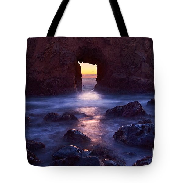 Sunset On Arch Rock In Pfeiffer Beach Big Sur In California. Tote Bag by Jamie Pham