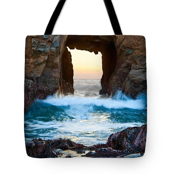 Sunset On Arch Rock In Pfeiffer Beach Big Sur. Tote Bag by Jamie Pham