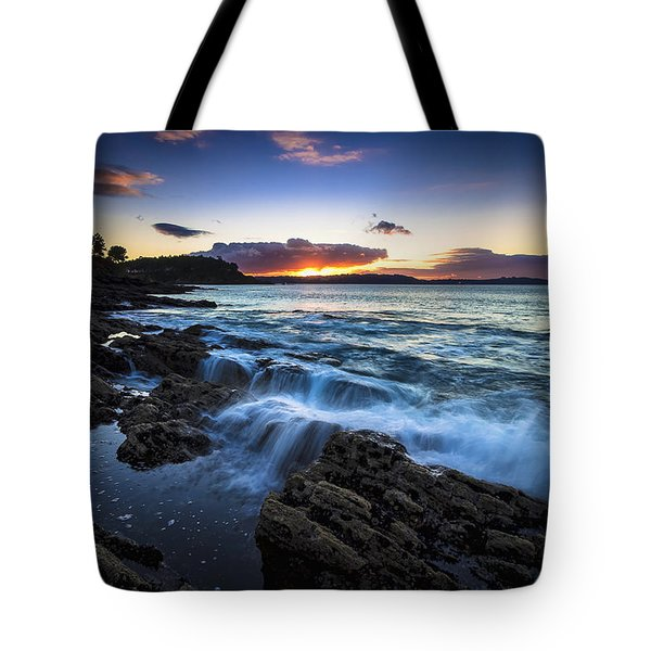 Tote Bag featuring the photograph Sunset On Ber Beach Galicia Spain by Pablo Avanzini