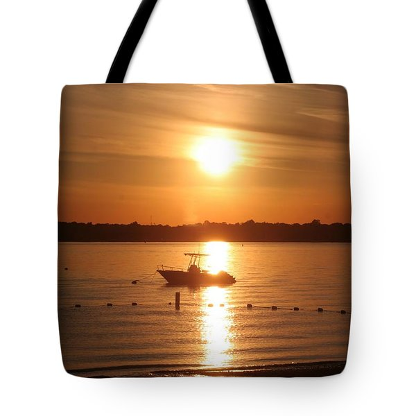 Tote Bag featuring the photograph Sunset On Boat by Karen Silvestri