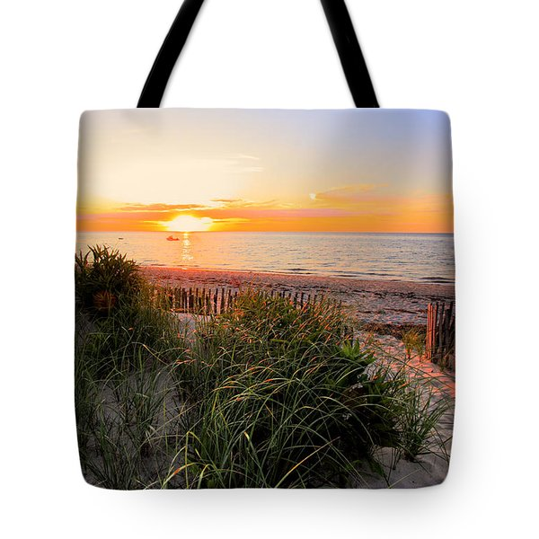 Sunset On Cape Cod Bay Tote Bag