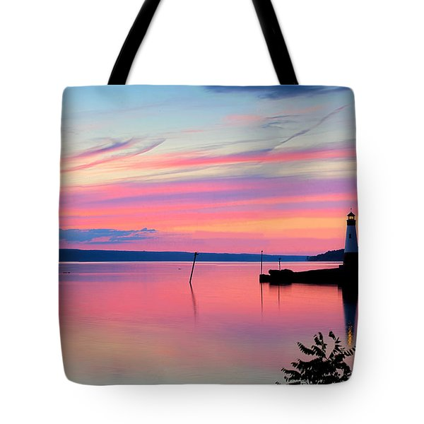 Sunset On Cayuga Lake Ithaca New York Tote Bag by Paul Ge