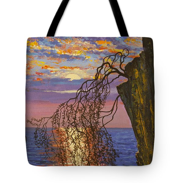 Sunset On Cliff Tote Bag