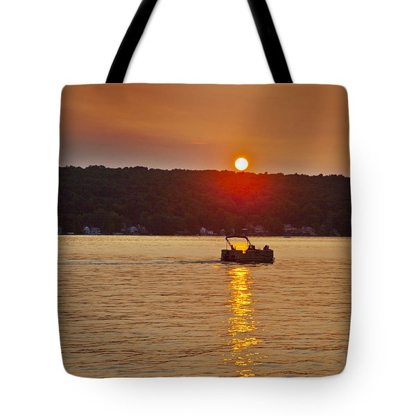 Boating Into The Sunset Tote Bag