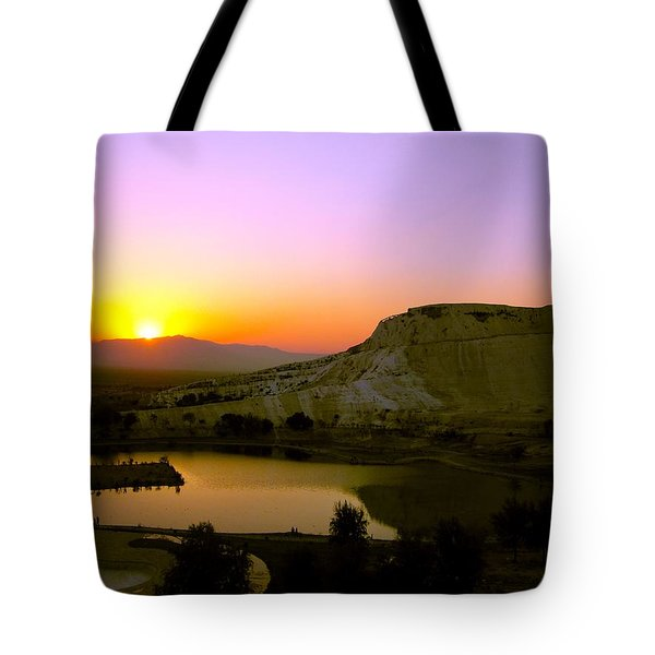 Sunset On Cotton Castles Tote Bag