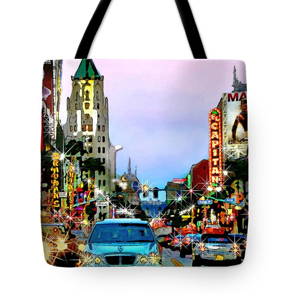 Tote Bag featuring the digital art Sunset On Hollywood Blvd by Jennie Breeze