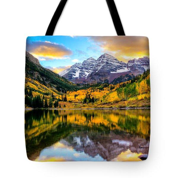 Sunset On Maroon Bells Tote Bag