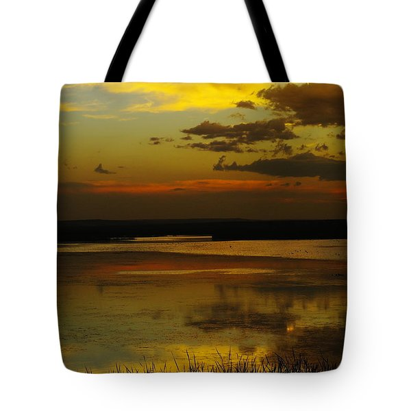 Sunset On Medicine Lake Tote Bag by Jeff Swan