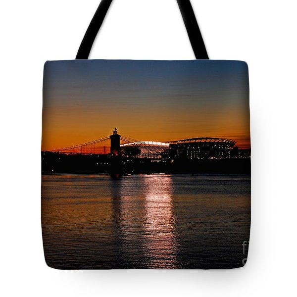 Tote Bag featuring the photograph Sunset On Paul Brown Stadium by Mary Carol Story