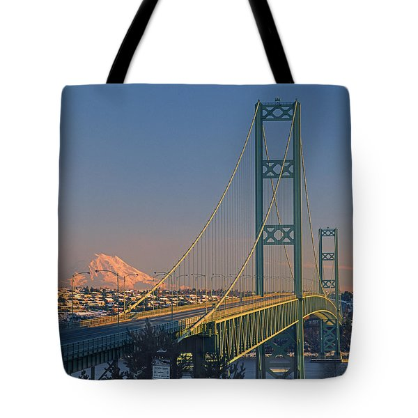 1a4y20-v-sunset On Rainier With The Tacoma Narrows Bridge Tote Bag