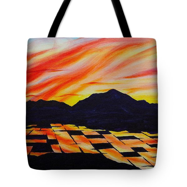 Tote Bag featuring the painting Sunset On Rice Fields by Michele Myers