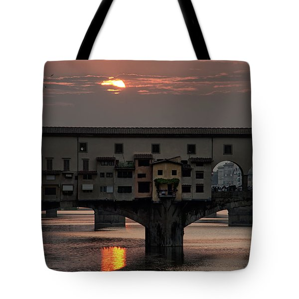 Sunset On The Arno River Tote Bag by Melany Sarafis