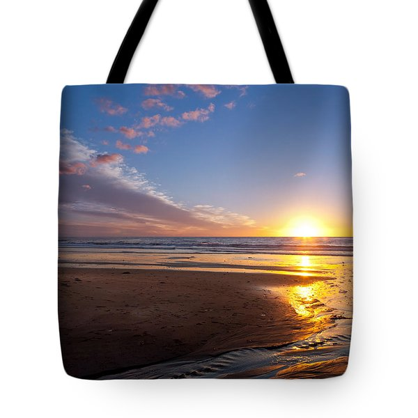 Sunset On The Beach At Carlsbad. Tote Bag
