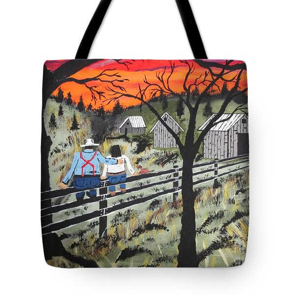 Sunset On The Fence Tote Bag