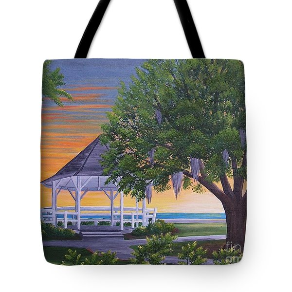 Sunset On The Gazeebo Tote Bag