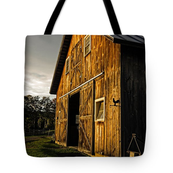 Sunset On The Horse Barn Tote Bag by Edward Fielding