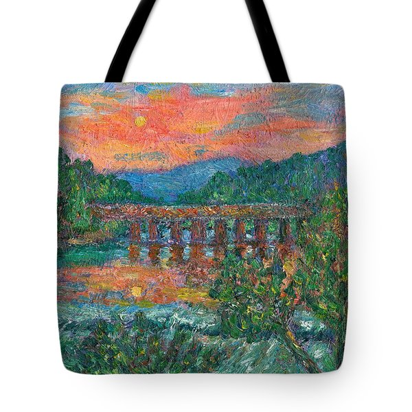 Sunset On The New River Tote Bag by Kendall Kessler
