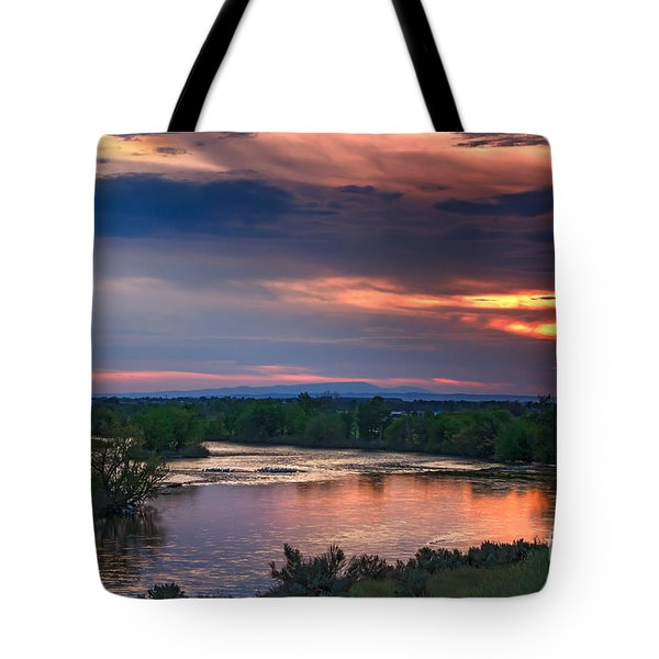 Sunset On The Payette  River Tote Bag by Robert Bales