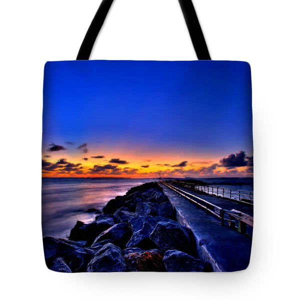 Tote Bag featuring the painting Sunrise On The Pier by Bruce Nutting