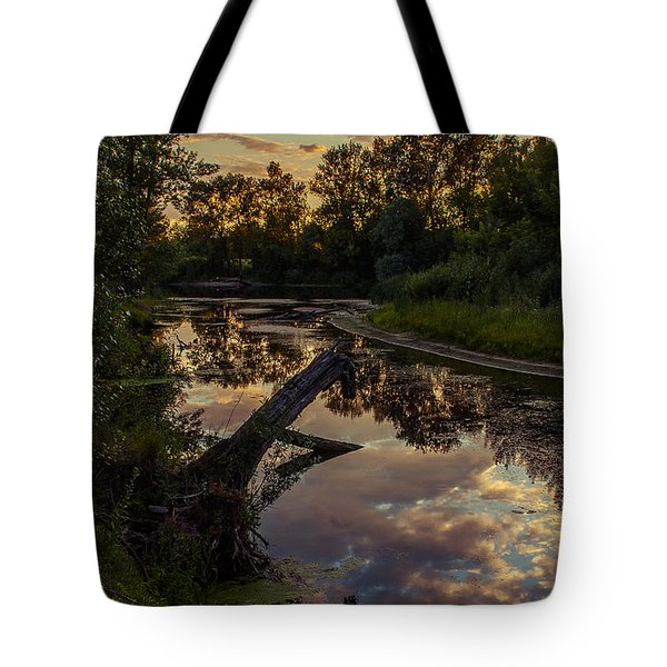 Sunset On The Quiet River Tote Bag