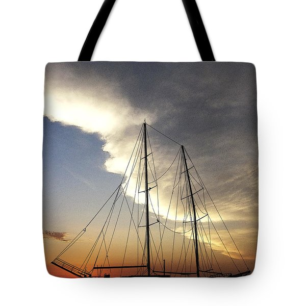 Sunset On The Turkish Gulet Tote Bag by Anne Mott