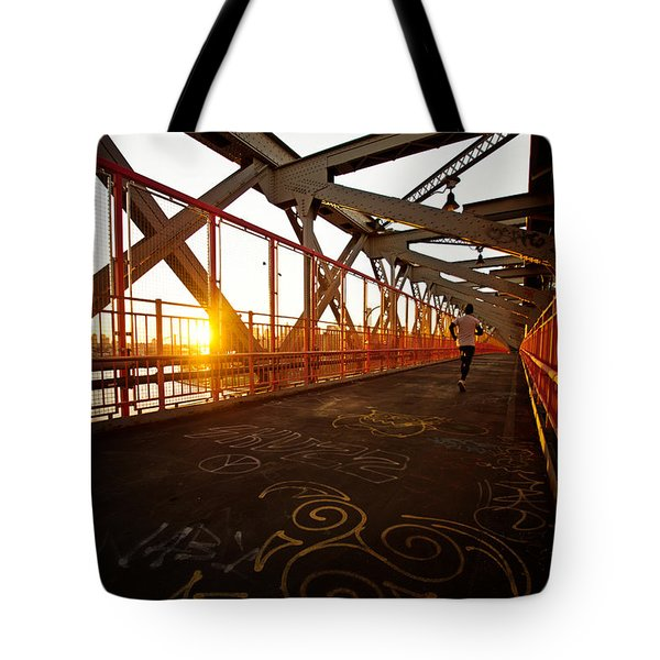 Sunset On The Williamsburg Bridge - New York City Tote Bag by Vivienne Gucwa