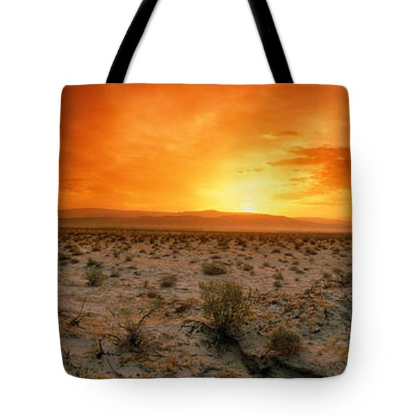Sunset Over A Desert, Palm Springs Tote Bag