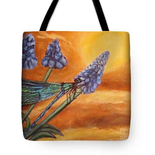 Summer Sunset Over A Dragonfly Tote Bag
