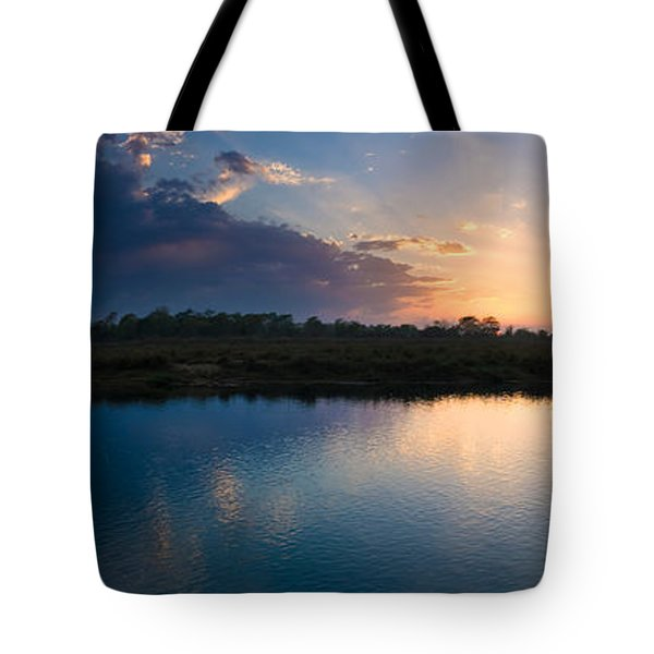 Sunset Over A Lake, Chitwan National Tote Bag by Panoramic Images