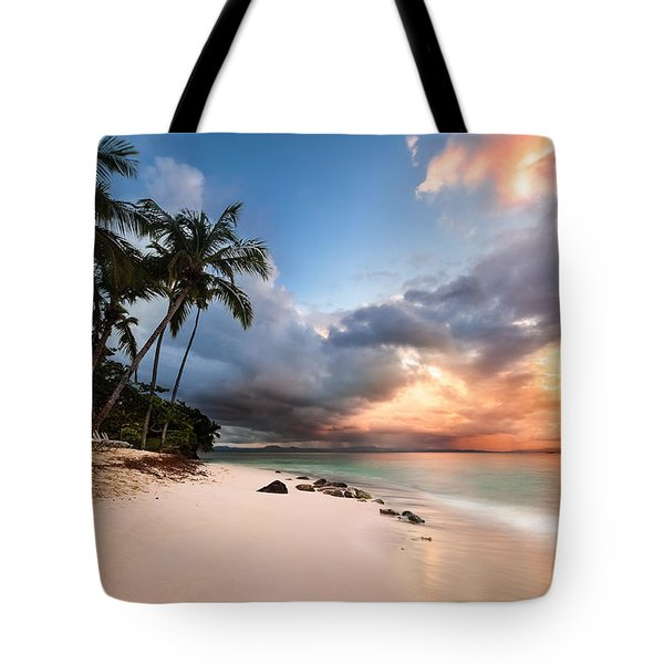 Tote Bag featuring the photograph Sunset Over Bacardi Island by Mihai Andritoiu