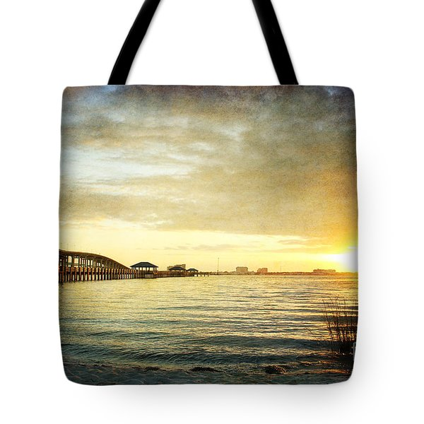 Sunset Over Biloxi Bay Tote Bag by Joan McCool