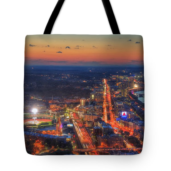 Sunset Over Fenway Park And The Citgo Sign Tote Bag
