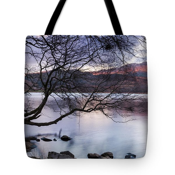 Sunset Over Lake Dinas Tote Bag by Trevor Chriss