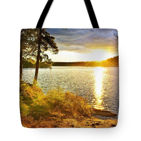 Sunset Over Lake Tote Bag by Elena Elisseeva