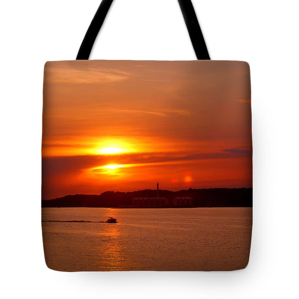 Sunset Over Lake Ozark Tote Bag