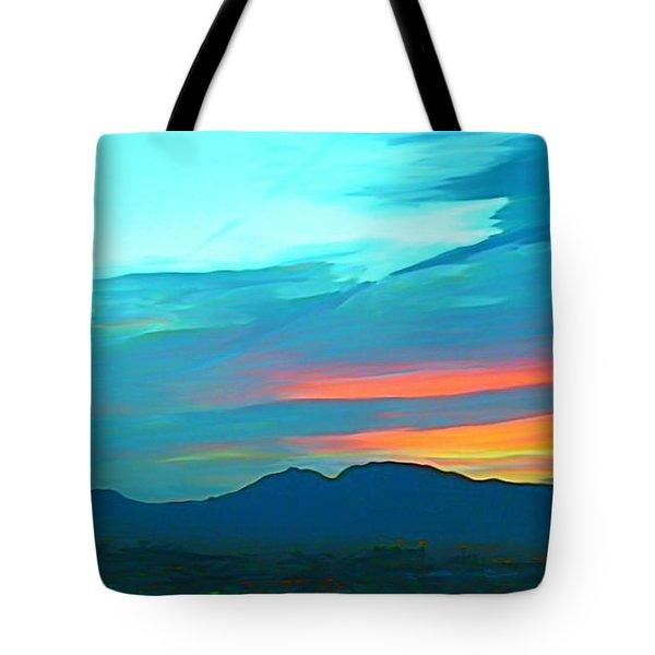Sunset Over Las Vegas Hills Tote Bag by John Malone